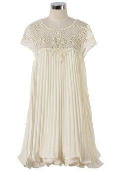 fac5121db8 Beads Embellished Pleated Dolly Dress in Cream - Socialbliss