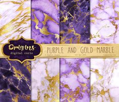 Purple and Gold Marble Textures by Origins Digital Curio on @creativemarket