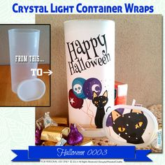 Halloween Crystal Light Container wrappers, Black Cat, balloons, Happy Halloween…