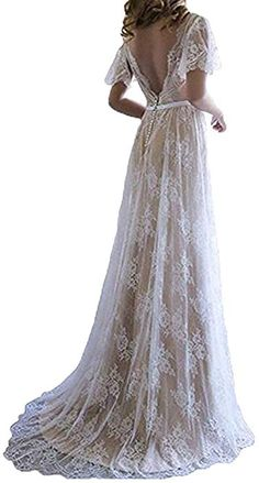 8a00e2c80cab Fashionbride Women s Bohemian Wedding Dresses Short Sleeve V Neck Lace Beach  Wedding Gowns ED73 Ivory-US6 at Amazon Women s Clothing store
