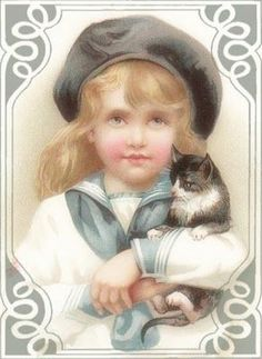 The Mmlittle girl with her kitty