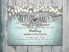 Set of 100 - Winter - Romantic Garden and Night Light Wedding Invitation and Reply Card Set - Wedding Stationery - ID210GB on Etsy, $135.00