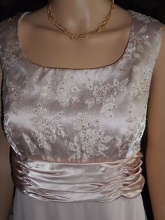 $15.99 & Free Shipping! R&M Richards Size 14 Soft Beigeish Pink Colored Beaded Bodice Gown