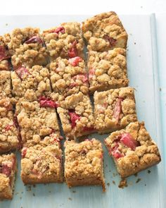 Rhubarb Crumb Bars | Rhubarb and strawberries are a great match. You can substitute half the rhubarb with an equal weight of quartered berries.