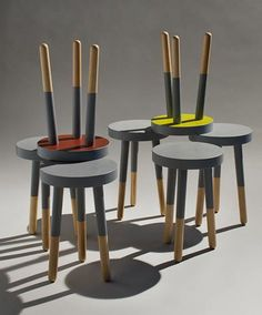 Plasti Dip milking stools. Furniture made modern.