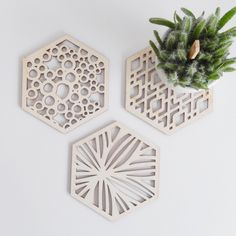 Wooden coaster, geometric and organic negatives shapes.