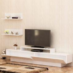 Decorotika Lusi 71 TV Media Stand with Wall Shelves (White) Tv Unit Furniture, Furniture Deals, Furniture Design, Furniture Outlet, Online Furniture, Lucca, White Tv Unit, 60 Tv Stand, Tv Media Stands