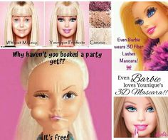 Let's admit ladies, we all need a little help every now and then. Even Barbie isn't perfectly coiffed all of the time!  With Younique's pure mineral makeup and AMAZING magic 3D mascara +, you can be as flawless as Barbie and make YOUR Ken swoon   https://www.youniqueproducts.com/MariaStutzman/business/party