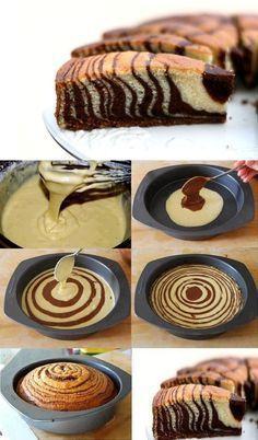 Zebra Cake – Impress Your Friends With A Tasty Cake Marble Cake Recipes, Dessert Recipes, Marble Cake Recipe With Oil, Food Cakes, Cupcake Cakes, Cupcakes, Baby Cakes, Mini Cakes, Zebra Print Cakes