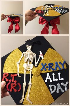 Xray graduation cap for radiologic technologists!!! Class of 2015!  Xray all day.