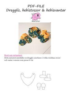 PDF-mønster/pattern: Dregglis, tossor och bebisvantar/Baby set pattern – Made by Runi
