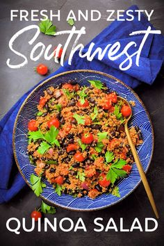 You've got to try this! Fresh and Zesty Southwest Quinoa Salad has that fresh, restaurant-style salsa flavor you love. Plus it keeps you full and it's perfect for meal-prep! #vegan #gluten #free #vegetarian #clean #healthy #meal #prep #salad #quinoa #allergy #low #carb #calorie