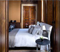 Bedroom in the Aman Canale Grande Hotel, Venice, Italy Dream Bedroom, Home Bedroom, Bedroom Decor, Peaceful Bedroom, Wall Decor, Home Interior, Interior Architecture, Interior Design, Historic Architecture