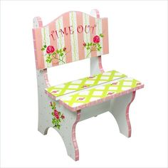This pink crackle finish time out chair designates a specific place for your little girl to go when she inevitably gets a time out. Hand-painted dainty roses and soft sage adds a country vintage feel to your decor.