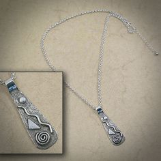 Textured sterling silver paddle necklace