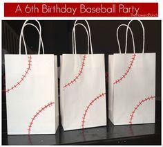 Themed Sixth Birthday - Treat Bags.Baseball Themed Sixth Birthday - Treat Bags. Baseball Theme Birthday, Sports Birthday, Boy Birthday Parties, Birthday Ideas, 7th Birthday, Baseball Party Favors, Baseball Cakes, Baseball Treats, Baseball Food