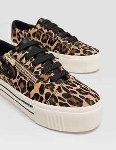 3e86c0719a02 Leopard print LEATHER trainers - Trainers