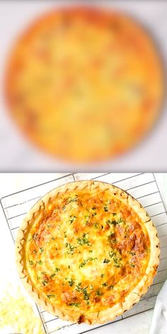 Classic Quiche Lorraine is a cheesy bacon quiche perfect for any meal of the day. And easy recipe made with a frozen pie crust (regular or gluten-free)! Breakfast Quiche, Breakfast Dishes, Quiche Recipes, Brunch Recipes, Chicken Quiche, Homemade Quiche, Homemade Pancakes, Bacon Quiche, Frittata