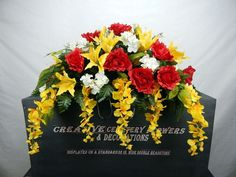 Double Cemetery Silk Flower Memorial Headstone/Tombstone Saddle/Grave Pillow