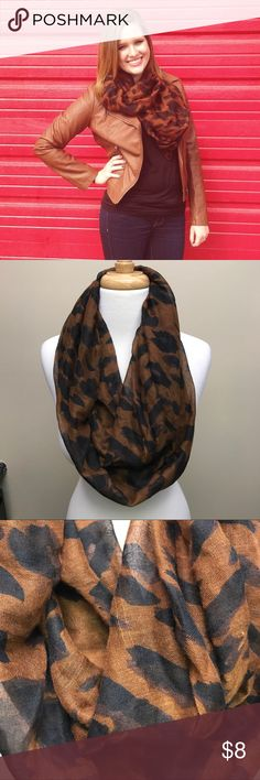 Cheetah Infinity Scarf This cheetah (brown and black) infinity scarf is thin material, but there's lots of it so it still keeps you super warm without making you feel claustrophobic. It's super stylish, looks good with lots of things. Only wore less than 5 times! Like new! Accessories Scarves & Wraps