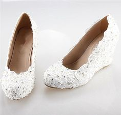 2014 white lace wedge handmade lace bridal shoes by ANGELBLINGBOX, $159.00