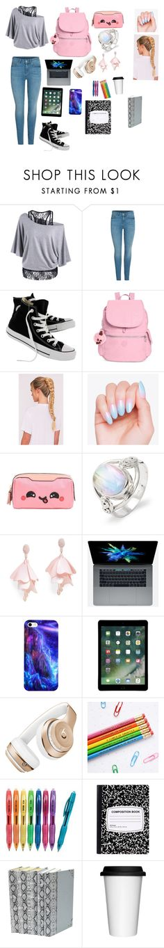 """""""School Day"""" by ickyvicky724 ❤ liked on Polyvore featuring Converse, Kipling, Anya Hindmarch, Oscar de la Renta Pink Label, Beats by Dr. Dre and Sagaform"""