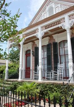 Shotgun House .  200 block of Pelican Avenue in Algiers Point . New Orleans . Louisiana
