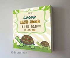 Check out our turtle nursery decor selection for the very best in unique or custom, handmade pieces from our shops. Birth Announcement Canvas, Baby Announcements, Turtle Nursery, Canvas Art, Canvas Prints, Name Art, Personalized Wall Art, Cartoon Drawings, Boy Room