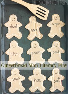 Lots of fun ideas for learning sight words, letters and even maths problems with Gingerbread Man learning cards!