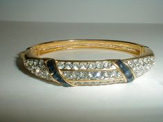 vintage nolan miller gold plated pave clear by fadedglitter42263, $135.00