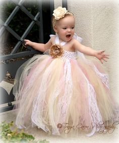 Tutu Dress, Flower Girl Dress Beige Mauve Antique Style 12 month to 2 Toddler. - wish i had a flower girl in this age group! Dress Flower, Flower Girl Tutu, Tulle Dress, Flower Girl Dresses, Flower Girls, Princess Tutu, Little Princess, Mauve, Tutus For Girls