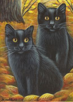Two Black Cats Among Leaves - Halloween Painting in Acrylics