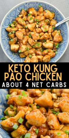 This Low Carb Kung Pao Chicken is better than take-out! At about 4 net carbs per serving this recipe is gluten free, low carb and keto friendly! #keto #chicken