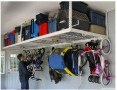 Overhead Garage Storage Rack Ceiling Shelf Shop Space Organization Bicycles deck