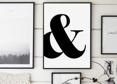 Ampersand Print, Ampersand Poster, Graphic Art, Typography, Minimalist Wall Art, Scandinavian, Affiche Scandinave, Black and White by GalaDigitalPrints on Etsy