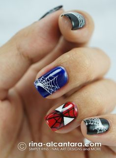Spiderman Nail Art using stamps and painting