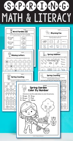Spring Math and Literacy Activities for preschool, kindergarten, and first grade kids are fun and easy with these common cores aligned worksheets. These printables are perfect for morning work, math and literacy centers, morning work, small groups and test prep. Activities included: number recognition, ten frame worksheets, skip counting, color by number, lady bug place value, and other games and printables for your students. Check out the description and try out the freebie included.