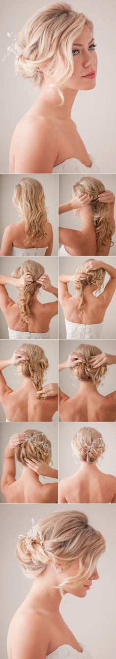 10 Fun And Fab DIY Hairstyles For Long Hair Hair tutorial for a messy bun. looks cute with accessories! Bridal Hair Tutorial, Wedding Hairstyles Tutorial, Best Wedding Hairstyles, Hairstyle Tutorials, Makeup Tutorials, Hairstyle Ideas, Bridal Hairstyles, Hair Ideas, Bridesmaid Hairstyles