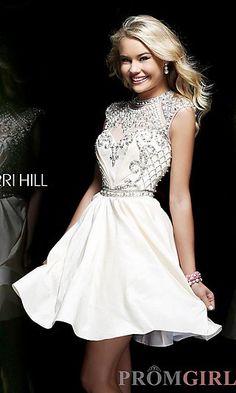 Short Beaded High Neck Cap Sleeve Dress at PromGirl.com