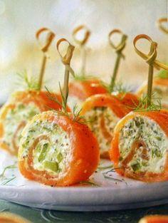 DIETAS PARA ADELGAZAR: Rollitos de salmón con queso y encurtidos