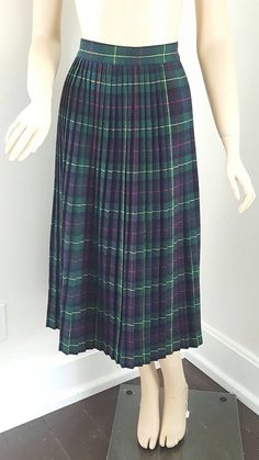 Vintage Blue and Green Plaid Wool Pleated by foundundertheeaves