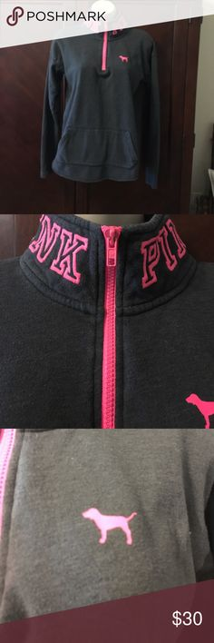 💓💓💓Pink by VS sweatshirt 💗💗Pink Victoria secret  sweatshirt  grey and pink💞 only flaw pointed out in picture( little color missing  from zipper pull ) says pink around both sides of collar! Super cute ! This is a x small could also fit a small💞 PINK Victoria's Secret Sweaters