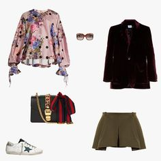 Natasha Zinko floral-print satin blouse, $610, matchesfashion.com; Gucci oversize square-framed acetate sunglasses, $496, matchesfashion.com; Vetements patch-pocket velvet blazer, $3,170, matchesfashion.com; Balenciaga pleat-front twill miniskirt, $670, matchesfashion.com; Golden Goose Deluxe Brand Super Star low-top suede and leather trainers, $335, matchesfashion.com; Gucci Sylvie mini leather cross-body bag, $1,950, matchesfashion.com