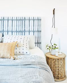 Combining Scandi simplicity with colorful art from around the globe, Minted Founder, Executive Creative Director, and CEO Mariam Naficy creates a serene Napa Valley retreat featured in the Winter issu Bedroom Furniture, Home Furniture, Bedroom Decor, Cozy Bedroom, Bedroom Apartment, Bedroom Ideas, Metal Furniture, Furniture Stores, Dream Bedroom