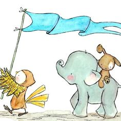 childrens illustration wall art---Here We Go Marching-- 5X7 watercolor art print. $10.00, via Etsy.