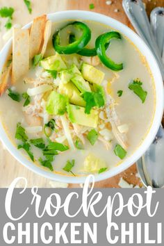 This Crockpot White Chicken Chili is easy to make and is the perfect comfort food on a chilly day! The chicken, spices, and beans come together to create a hearty meal for your family to enjoy! #weeknightmeals #dinneridea #chickenrecipes #chickenchili White Chicken Chilli, Crockpot White Chicken Chili, Raw Chicken, Chicken Spices, Chicken Recipes, Chili Recipes, Slow Cooker Recipes, Cilantro, Chile