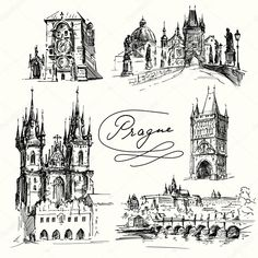 Prague - hand drawn collection by Canicula, via Shutterstock Prague Architecture, Architecture Sketchbook, Architecture Tattoo, Tattoo Prague, Building Tattoo, Travel Symbols, Bullet Art, Trippy Drawings, City Sketch