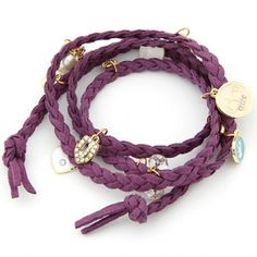 Wholesale Occident multi-layer leather cord elements bracelet purple | Diggfind