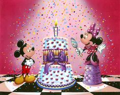 Annick Biaudet - Mickey Mouse - It's Cake Time - Minnie - world-wide-art.com