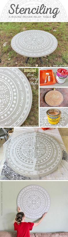 Cutting Edge Stencils shares a DIY round stenciled table using the Indian Inlay Medallion to achieve a faux bone inlay look. http://www.cuttingedgestencils.com/indian-inlay-stencil-medallion-kim-myles-stencils.html
